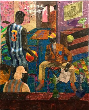 Image Credit: Derek Fordjour, Alpha Physical Culture Club of Harlem, 2018, Acrylic, charcoal, oil pastel and foil on newspaper mounted on canvas, 64 x 52 inches, Courtesy of the artist