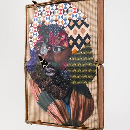 Image Credit: David Shrobe, Suitcased Brown, 2017, oil, acrylic, graphite, paper, fabric and mixed media on vintage suitcase suspended, 39 x 25 x 5 inches, Courtesy of the artist