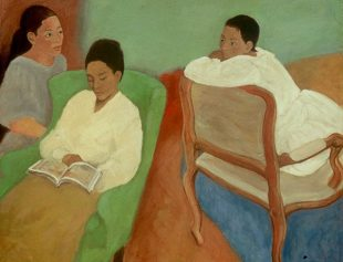 Image Credit: Virgie Ezelle Patton, Three Sisters: Shelly, Jennifer, Julie, (1990s), Oil on Canvas, 44 x 52, Courtesy of the Ezelle-Patton Family Collection