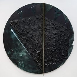 Image Credit: Torkwase Dyson, Plantationocene (Black Water 1919). Acrylic, graphite, string, wood, ink on canvas, (2019). Courtesy of the artist.