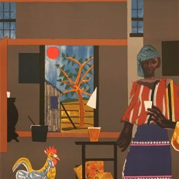 Image Credit: Romare Bearden, Morning of the Rooster. (1980), Lithograph, ART©Romare Bearden Foundation. Courtesy of the Romare Bearden Foundation.