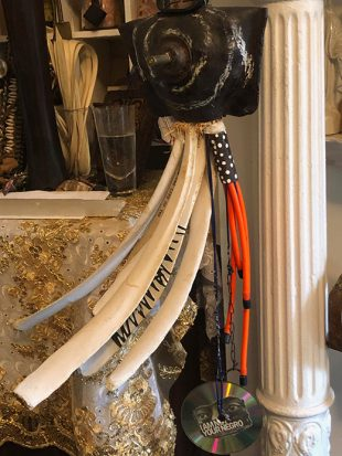 Image Credit: Grace Y. Williams, Trump: Metal and Bones, (2017). Bone, metal, rubber, tubing, cd, bullet, leather, paper, enamel. Courtesy of the artist.