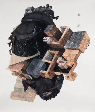 """Image Credit: Yashua Klos, God of The Ghetto, (2015). Paper construction of woodblock prints and graphite on archival paper — 35"""" x 45"""". Courtesy of the artist."""