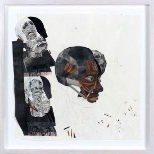 """Image Credit: Yashua Klos, Head Study 6, (2015). Paper construction of woodblock prints on archival paper, 8"""" x 8"""". Courtesy of the artist."""